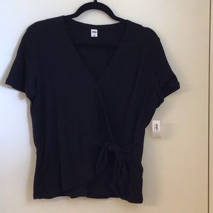 Old Navy Black Textured Wrap-Front Side-Tie Top